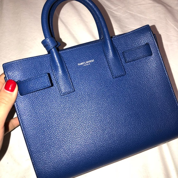 89e32bbaad CLASSIC NANO SAC DE JOUR BAG IN BlUE LEATHER
